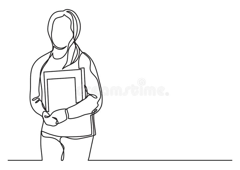 Γυναίκα σπουδαστής με τα βιβλία - συνεχές σχέδιο γραμμών απεικόνιση αποθεμάτων