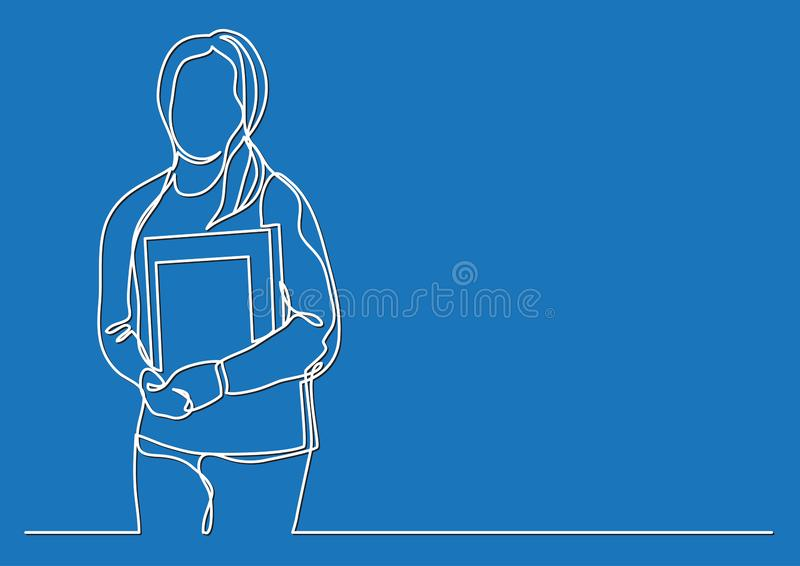 Γυναίκα σπουδαστής με τα βιβλία - συνεχές σχέδιο γραμμών ελεύθερη απεικόνιση δικαιώματος