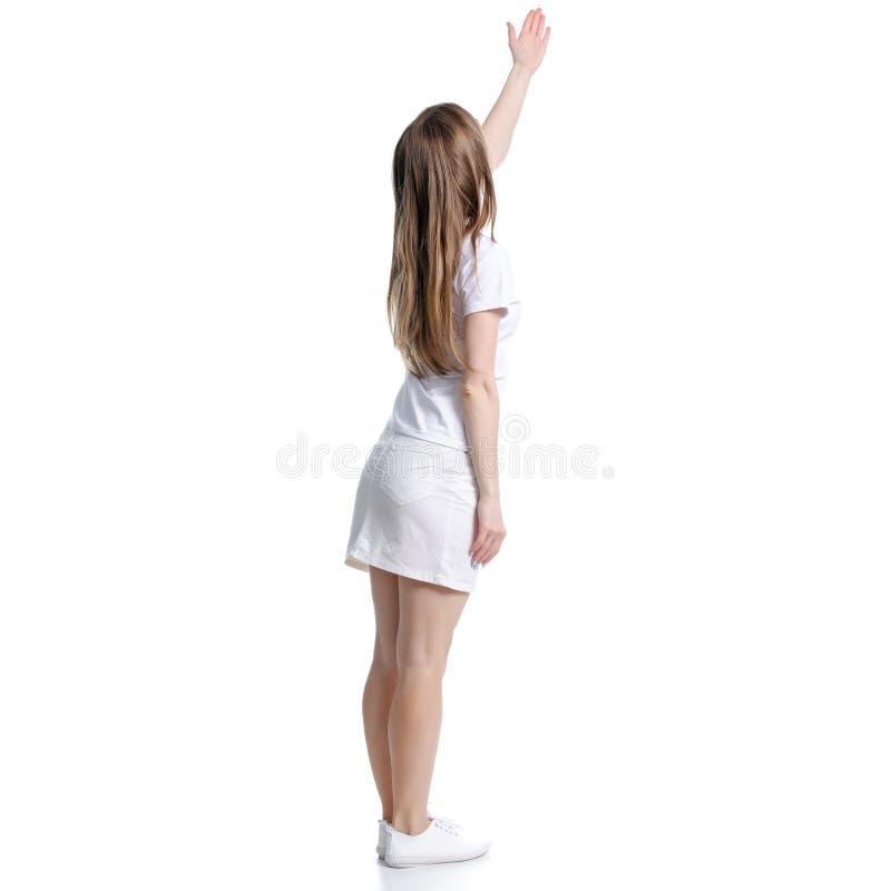 Γυναίκα στην άσπρες μπλούζα και τη φούστα που στέκονται παρουσιάζοντας υπόδειξη στοκ φωτογραφία με δικαίωμα ελεύθερης χρήσης