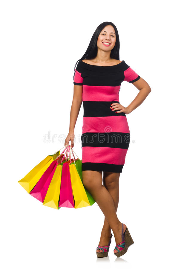 Download Γυναίκα στην έννοια αγορών Χριστουγέννων στο λευκό Στοκ Εικόνα - εικόνα από επιπλέον, αστείος: 62709401