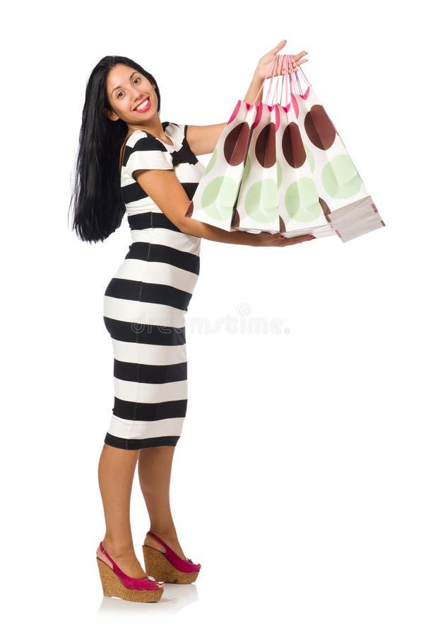 Download Γυναίκα στην έννοια αγορών Χριστουγέννων στο λευκό Στοκ Εικόνες - εικόνα από διασκέδαση, περιστασιακός: 62710366