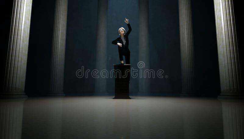 Γυναίκα στην εξέδρα διανυσματική απεικόνιση
