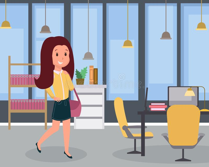 Γυναίκα στην επίπεδη διανυσματική απεικόνιση εργασίας Γυναίκα χαμογελώντας υπάλληλος στο γραφείο, εύθυμος νέος διευθυντής, εργάσι απεικόνιση αποθεμάτων