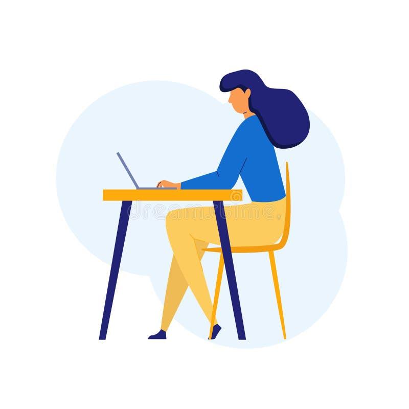 Γυναίκα στην επίπεδη συνεδρίαση ύφους στον πίνακα που χρησιμοποιεί τον υπολογιστή, lap-top στον εργασιακό χώρο r r διανυσματική απεικόνιση