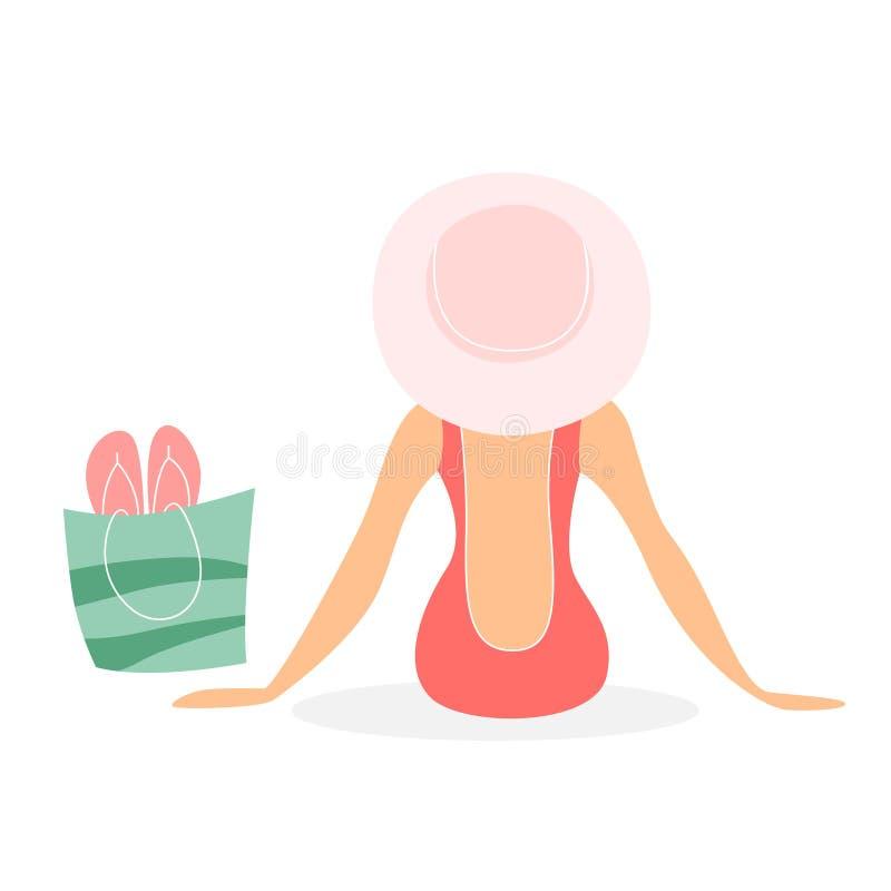 Γυναίκα στην κολυμπώντας συνεδρίαση κοστουμιών και καπέλων στην παραλία απεικόνιση αποθεμάτων