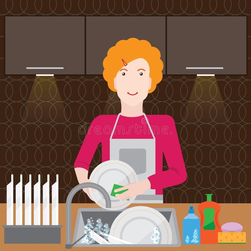 Γυναίκα στην κουζίνα ελεύθερη απεικόνιση δικαιώματος