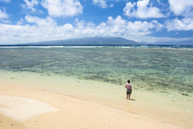 Γυναίκα στην παραλία στη Χαβάη στοκ φωτογραφίες