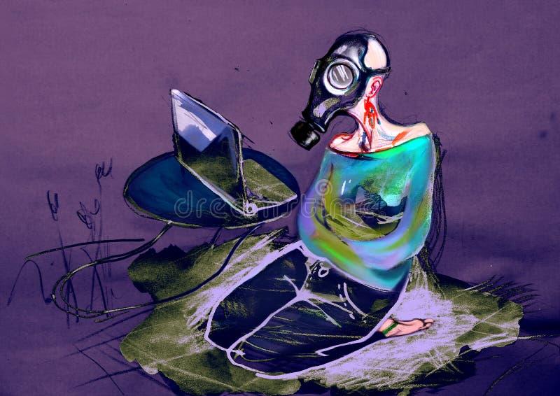 Γυναίκα στη μάσκα αερίου, που προσέχει στο lap-top, που επισύρει την προσοχή σε χαρτί στοκ φωτογραφίες