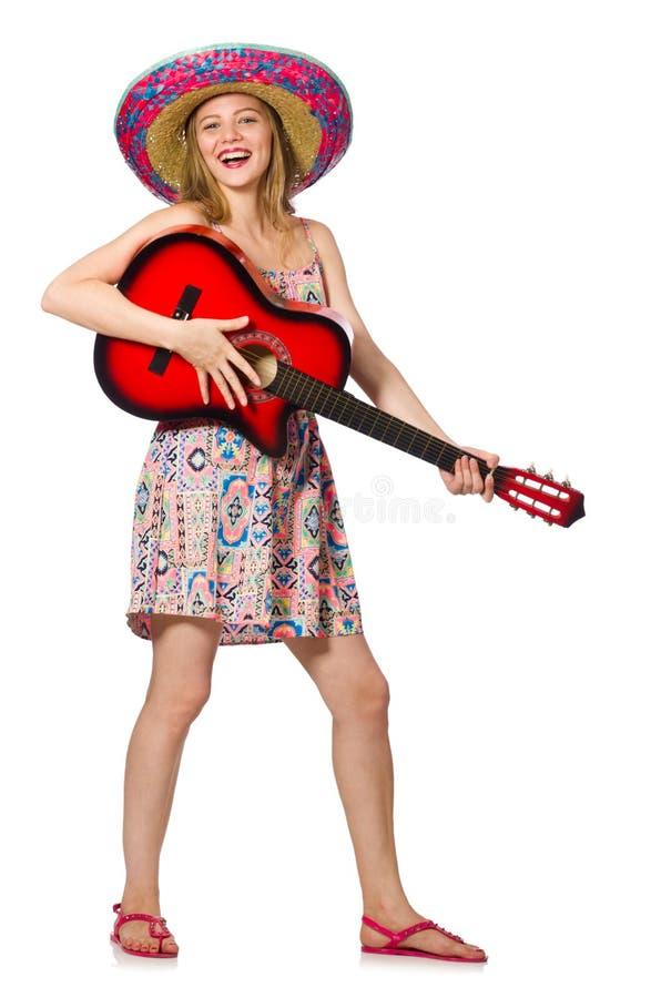 Download Γυναίκα στη μουσική έννοια με την κιθάρα στο λευκό Στοκ Εικόνα - εικόνα από ζωνών, popcorn: 62706647