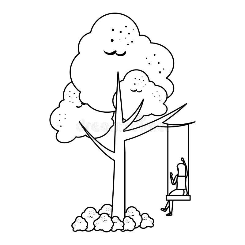 Γυναίκα στη σκηνή ταλάντευσης δέντρων ελεύθερη απεικόνιση δικαιώματος
