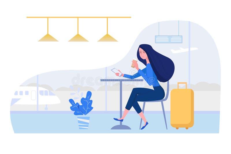 Γυναίκα στη συνεδρίαση αερολιμένων στον καφέ με τη βαλίτσα, το κινητούς τηλέφωνο και τον καφέ Θηλυκή διανυσματική απεικόνιση χαρα απεικόνιση αποθεμάτων