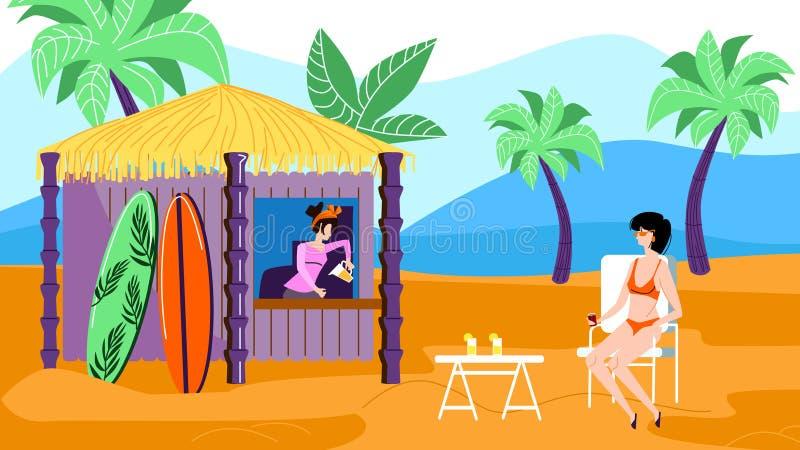 Γυναίκα στη συνεδρίαση μπικινιών στον καφέ στην εξωτική παραλία διανυσματική απεικόνιση