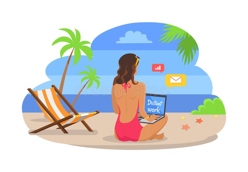 Γυναίκα στις εργασίες μαγιό για το lap-top στην εξωτική παραλία διανυσματική απεικόνιση