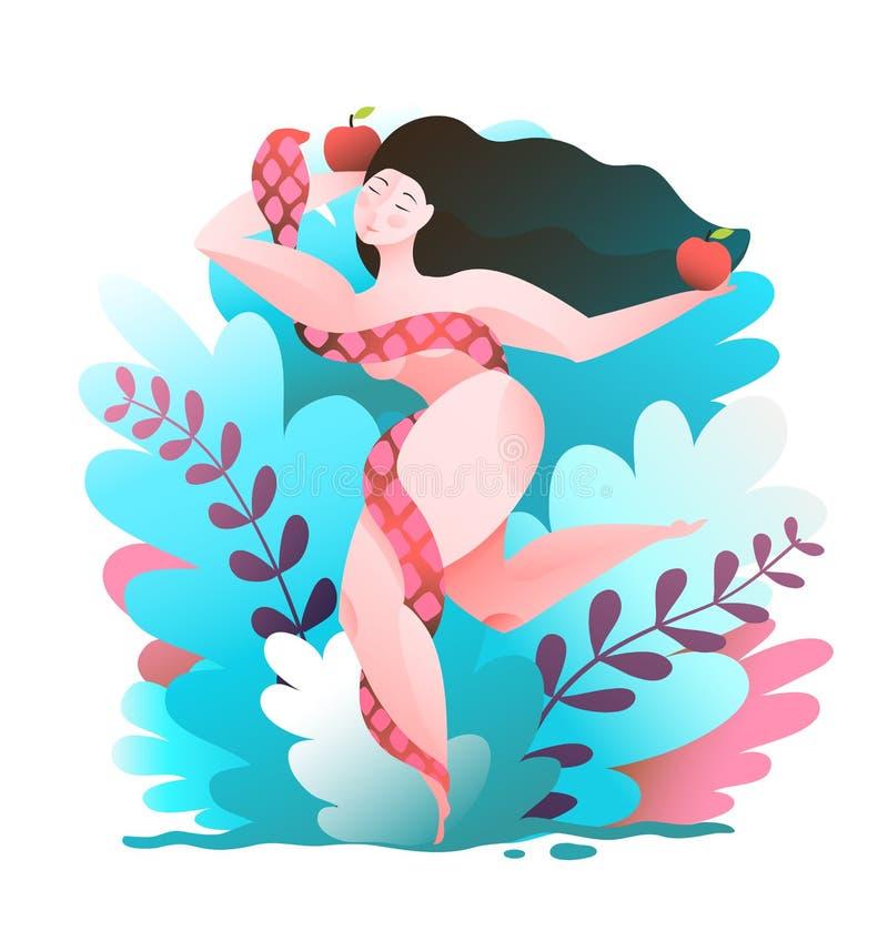 Γυναίκα στον κήπο παραδείσου με το φίδι και το μήλο απεικόνιση αποθεμάτων