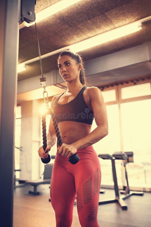 Γυναίκα στους μυς όπλων κεντρικής άσκησης ικανότητας στον εξοπλισμό στοκ φωτογραφία με δικαίωμα ελεύθερης χρήσης