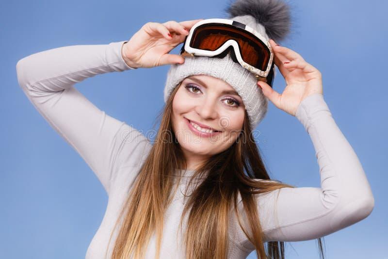 Γυναίκα στο θερμικό σκι εσώρουχων googles στοκ φωτογραφίες με δικαίωμα ελεύθερης χρήσης