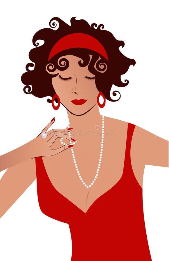 Γυναίκα στο κόκκινο παιχνίδι φορεμάτων με το περιδέραιο απεικόνιση αποθεμάτων