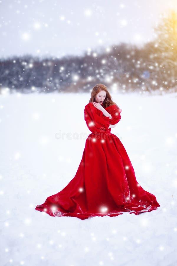 Γυναίκα στο κόκκινο φόρεμα το χειμώνα Κορίτσι παραμυθιού πέρα από το χειμερινό τοπίο Χριστούγεννα στοκ φωτογραφίες με δικαίωμα ελεύθερης χρήσης