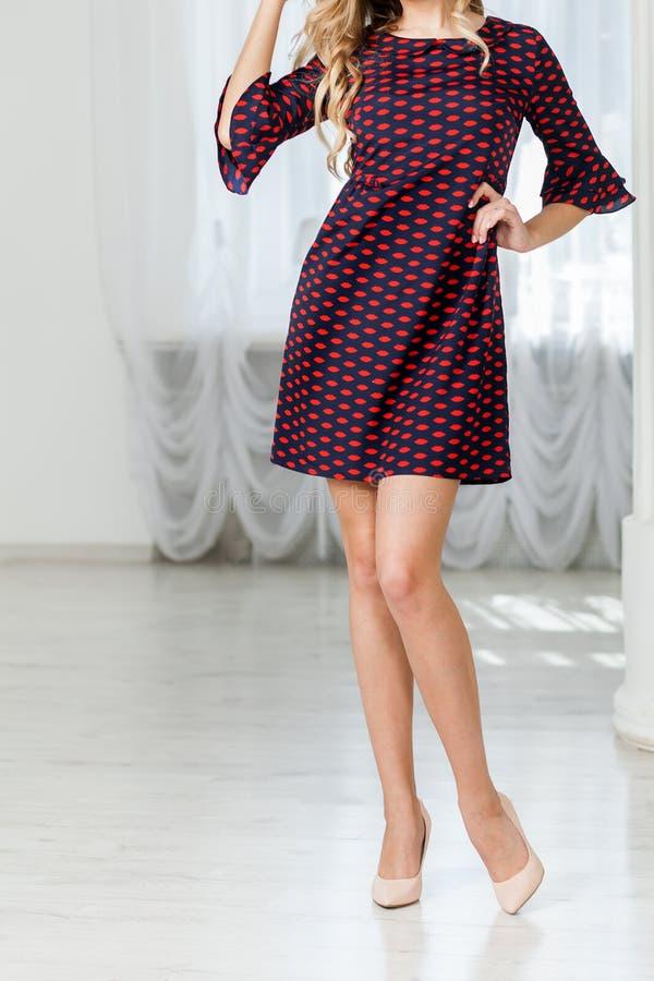 Γυναίκα στο μαύρο μικρό κλασικό φόρεμα στοκ εικόνες