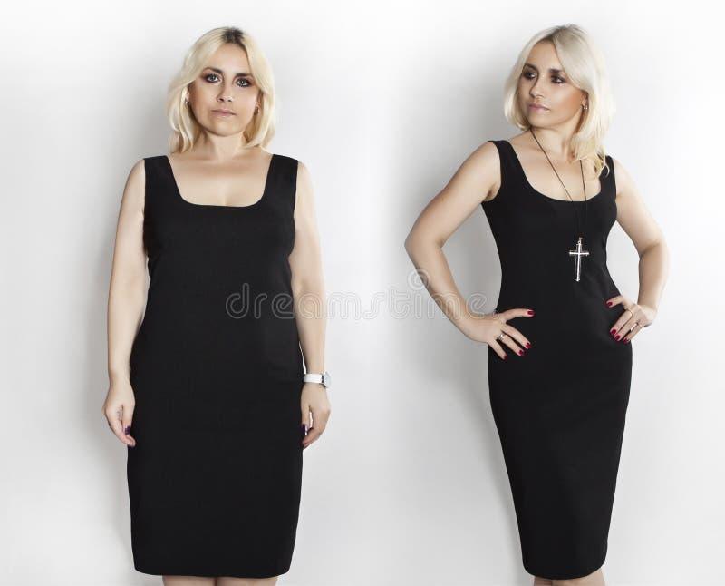 Γυναίκα στο μαύρο φόρεμα, φωτογραφίες πριν και μετά από την απώλεια βάρους στοκ εικόνα