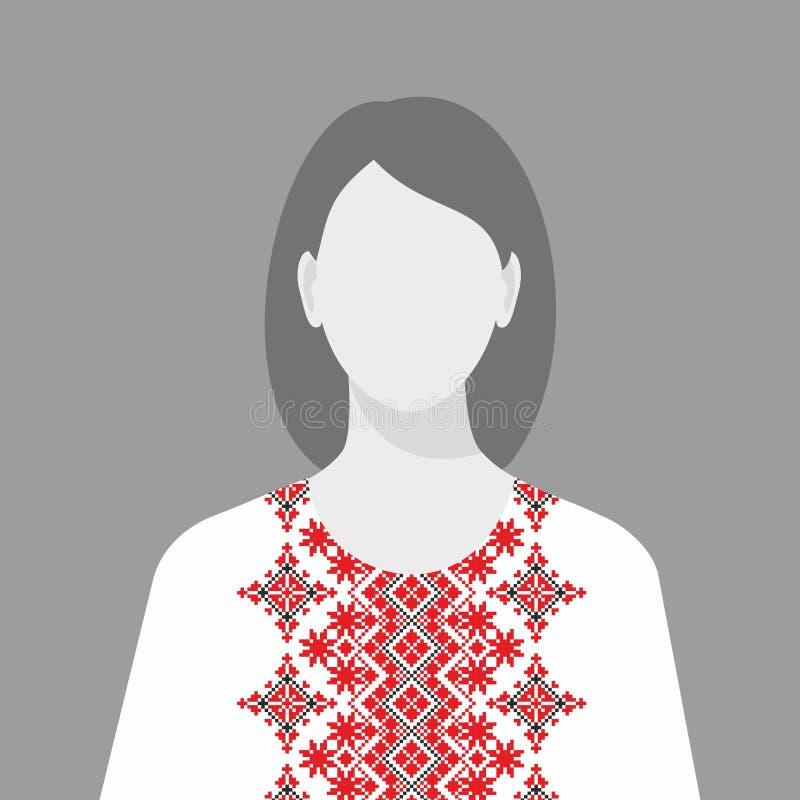 Γυναίκα στο παραδοσιακό εθνικό φόρεμα που κεντιέται απεικόνιση αποθεμάτων