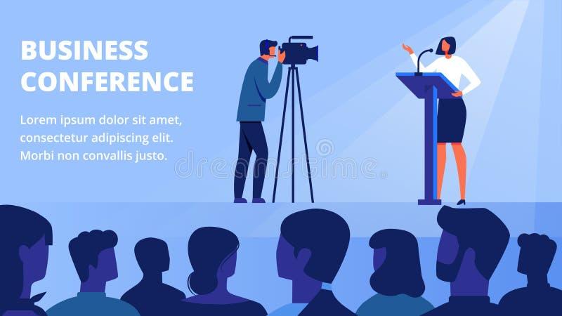 Γυναίκα στο σκηνικό μπροστινό ακροατήριο Επιχειρησιακή διάσκεψη ελεύθερη απεικόνιση δικαιώματος