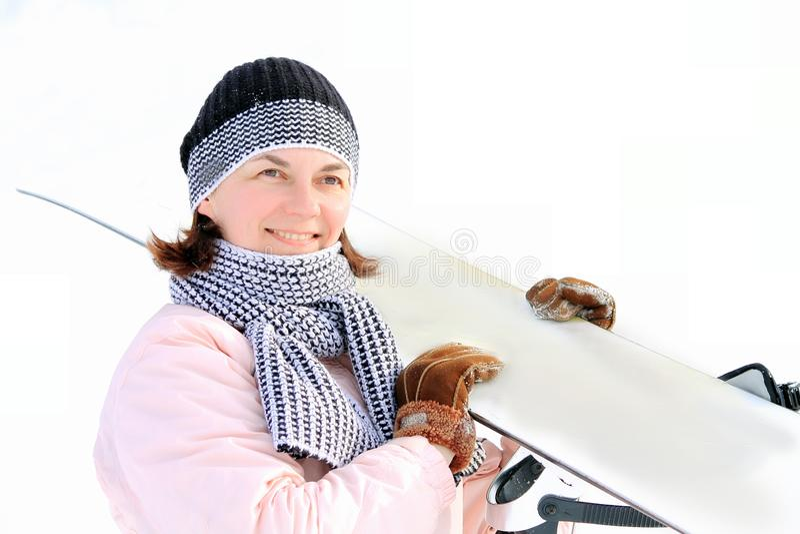 Γυναίκα στο χιόνι στοκ εικόνες με δικαίωμα ελεύθερης χρήσης
