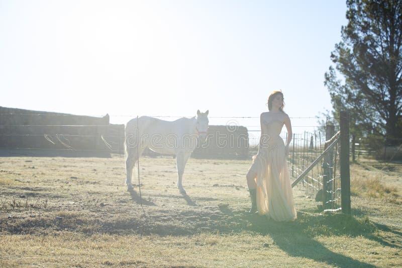 Γυναίκα στο χρυσό φόρεμα δίπλα στο άσπρο άλογο στοκ φωτογραφίες