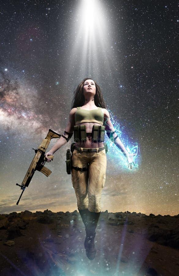 Γυναίκα στρατιωτών με τις παραφυσικές μαγικές δυνάμεις ελεύθερη απεικόνιση δικαιώματος