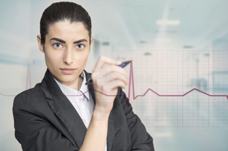 Γυναίκα σχετικά με το επιχειρησιακό διάγραμμα στοκ εικόνα με δικαίωμα ελεύθερης χρήσης
