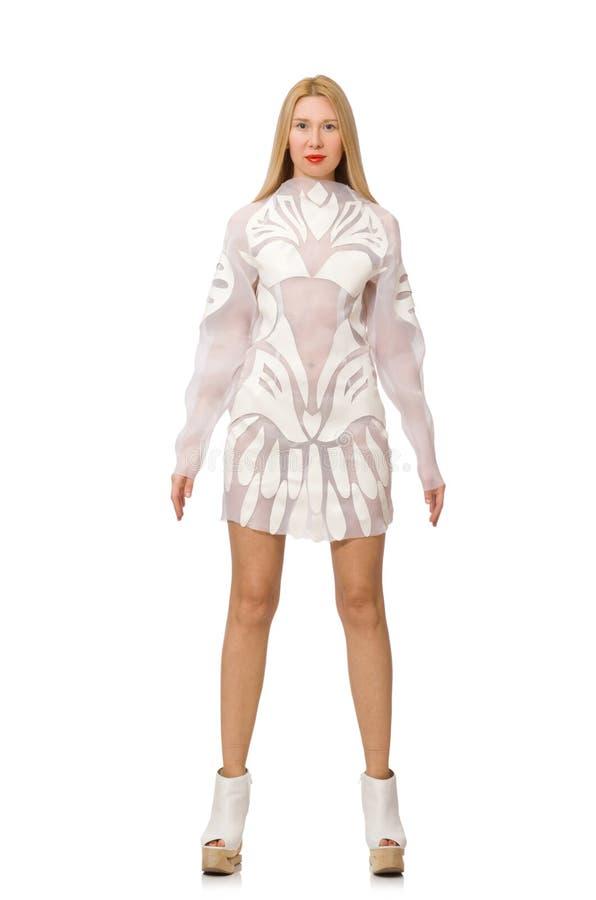 Download Γυναίκα το άσπρο φόρεμα που απομονώνεται που φορά στο λευκό Στοκ Εικόνες - εικόνα από ικανότητα, αριθμός: 62710678