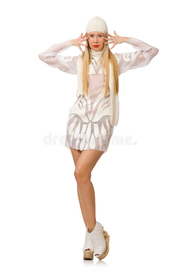 Download Γυναίκα το άσπρο φόρεμα που απομονώνεται που φορά στο λευκό Στοκ Εικόνες - εικόνα από τιναγμένος, φοβησμένος: 62710714