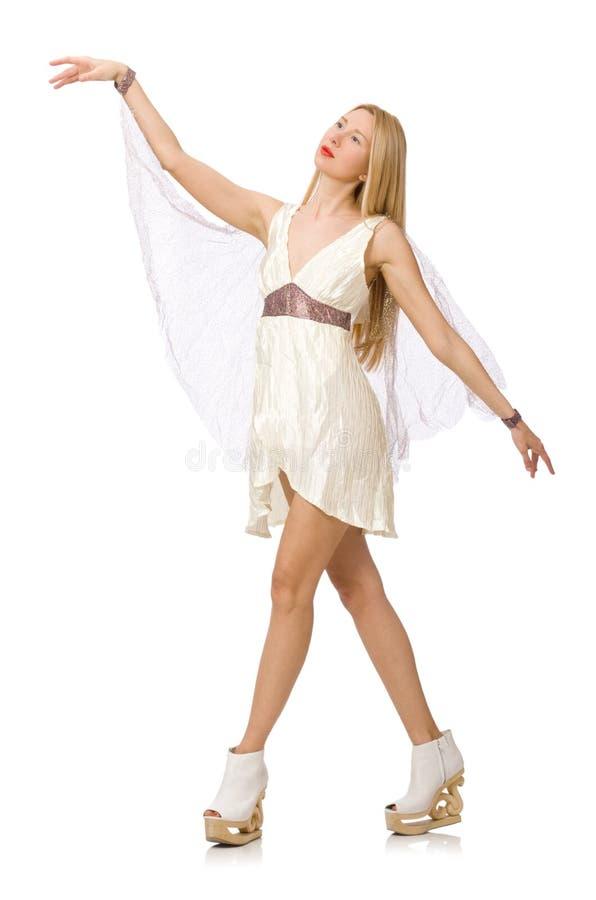 Download Γυναίκα το άσπρο φόρεμα που απομονώνεται που φορά στο λευκό Στοκ Εικόνες - εικόνα από ένας, αριθμός: 62710724