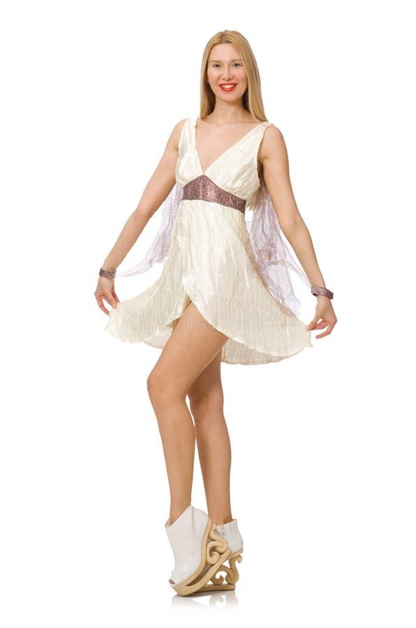 Download Γυναίκα το άσπρο φόρεμα που απομονώνεται που φορά στο λευκό Στοκ Εικόνα - εικόνα από αναψυχή, θηλυκό: 62710771