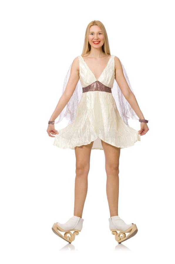 Download Γυναίκα το άσπρο φόρεμα που απομονώνεται που φορά στο λευκό Στοκ Εικόνα - εικόνα από αρκετά, πάγος: 62710813