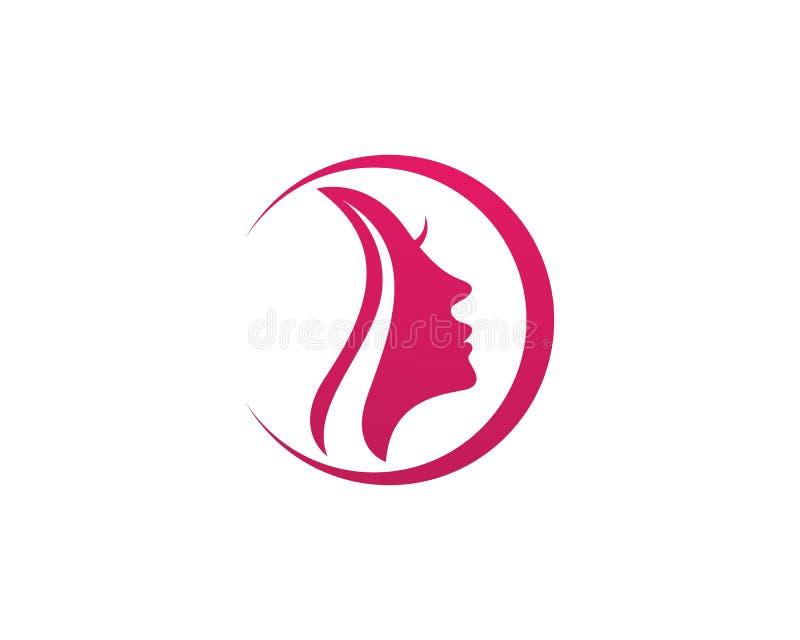 Γυναίκα τρίχας και λογότυπο και σύμβολα προσώπου ελεύθερη απεικόνιση δικαιώματος