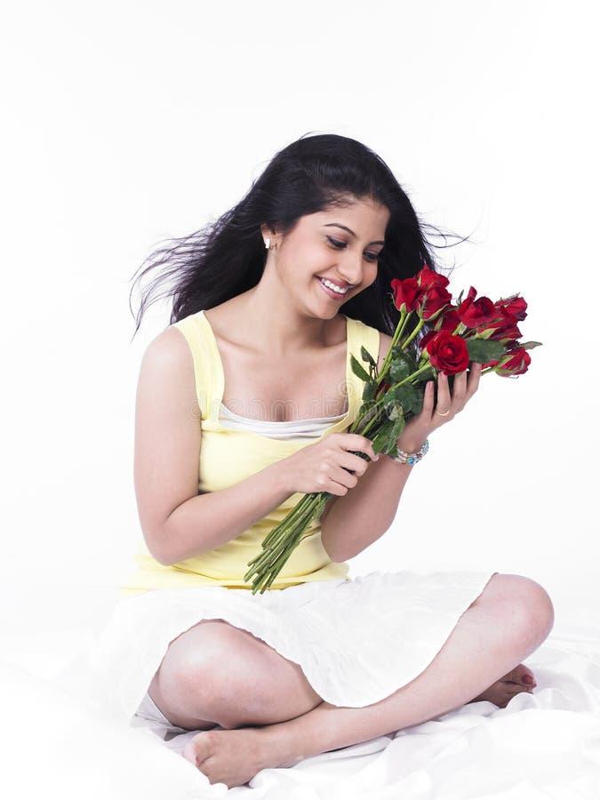 γυναίκα τριαντάφυλλων αν& στοκ φωτογραφία