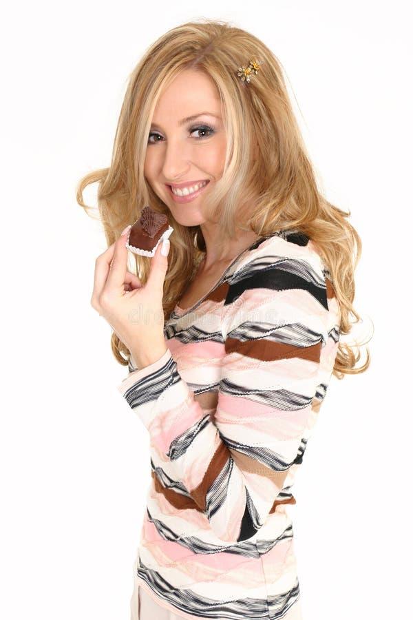 γυναίκα τρουφών σοκολάτας στοκ εικόνες