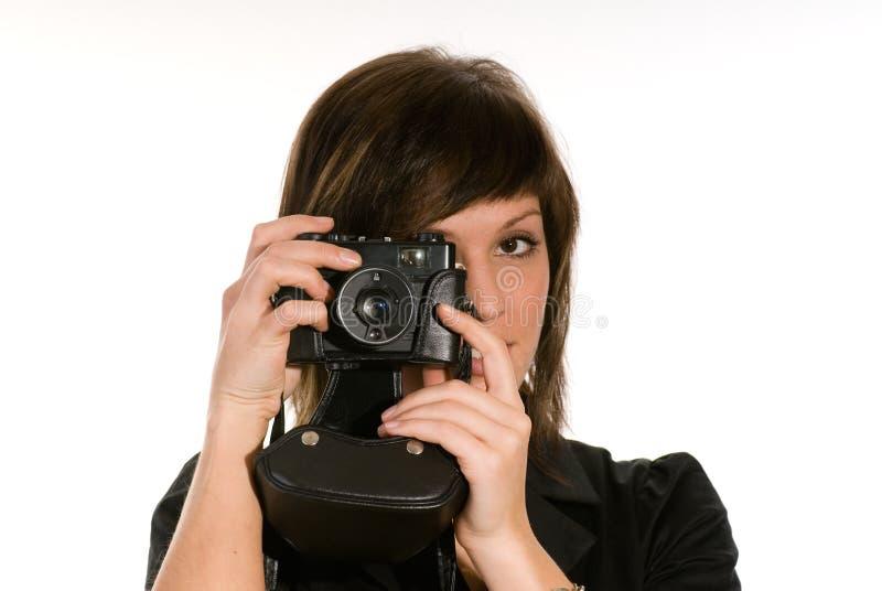 γυναίκα φωτογραφικών μηχανών στοκ εικόνα