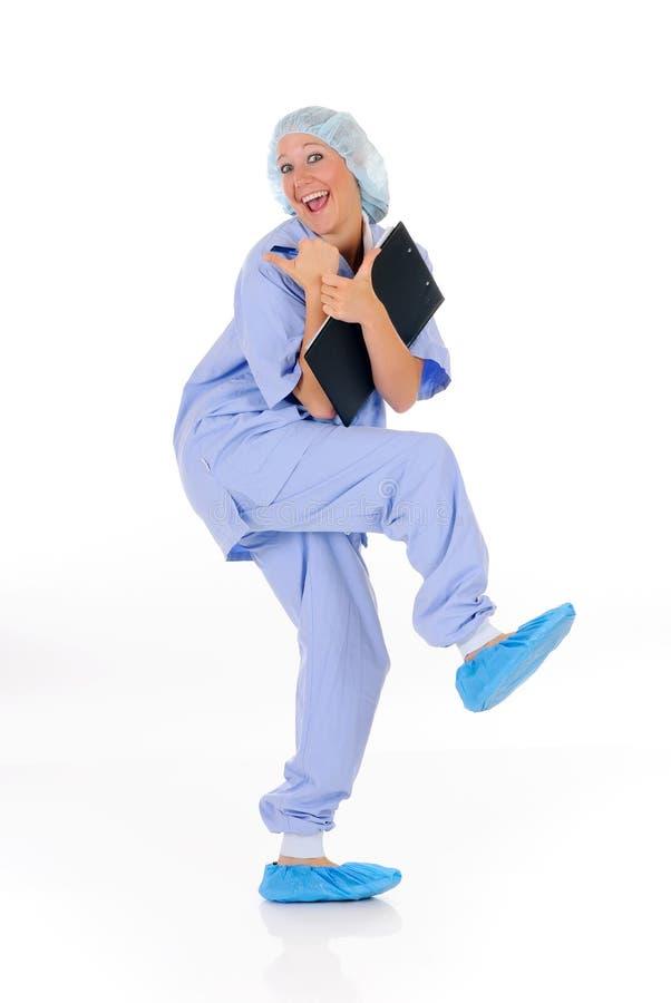 γυναίκα χαρούμενη νοσοκό στοκ φωτογραφία