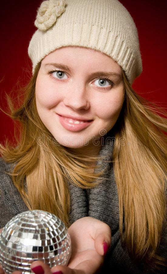 γυναίκα Χριστουγέννων σφαιρών στοκ εικόνα με δικαίωμα ελεύθερης χρήσης