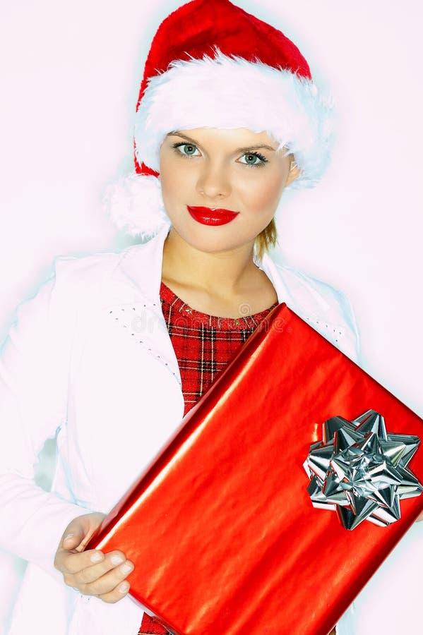 γυναίκα χριστουγεννιάτικου δώρου στοκ φωτογραφίες
