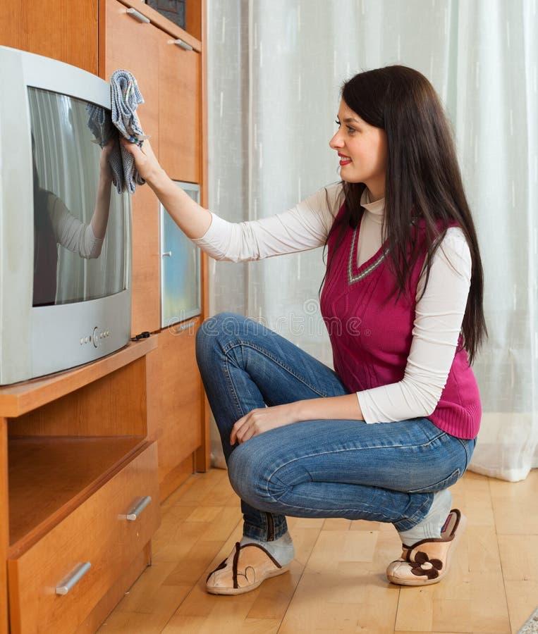 Γυναίκα Brunentte που σκουπίζει τη σκόνη στη TV στοκ εικόνες με δικαίωμα ελεύθερης χρήσης