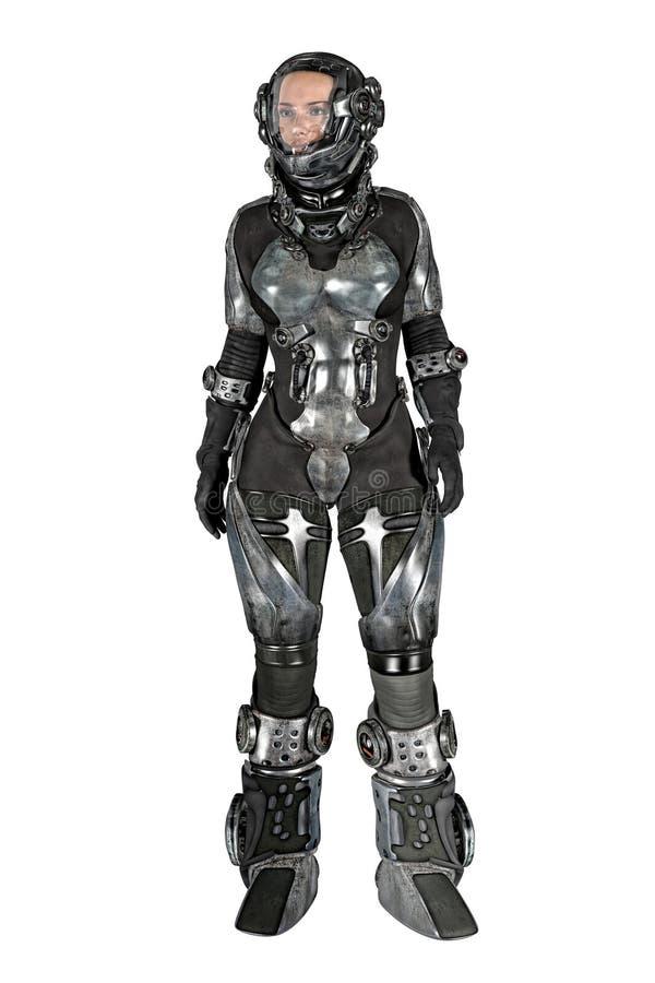 Γυναίκα CG στη φόρμα αστροναύτη που απομονώνεται διανυσματική απεικόνιση
