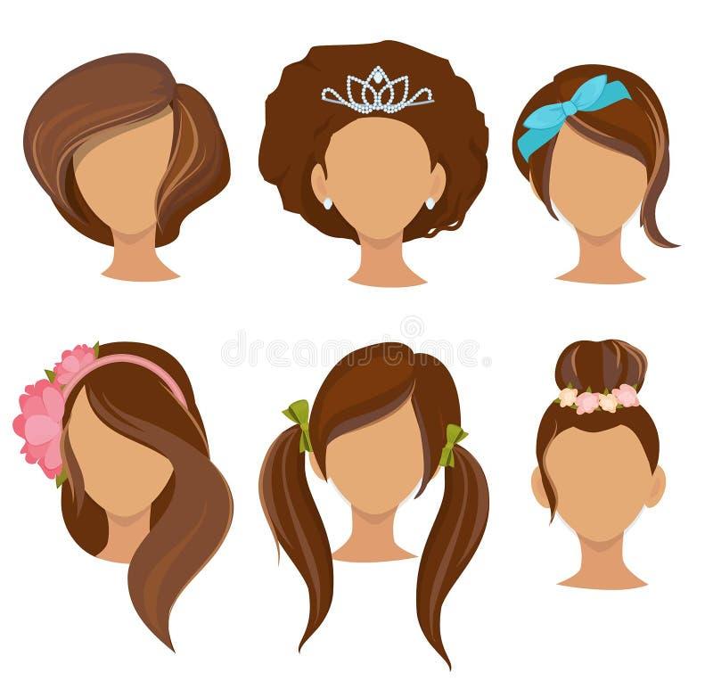 Γυναίκα hairstyles Νέων κοριτσιών μοντέρνη τρίχας στοιχείων στεφανών τόξων ελαστική ζωνών συλλογή εικόνων συνδετήρων διανυσματική ελεύθερη απεικόνιση δικαιώματος