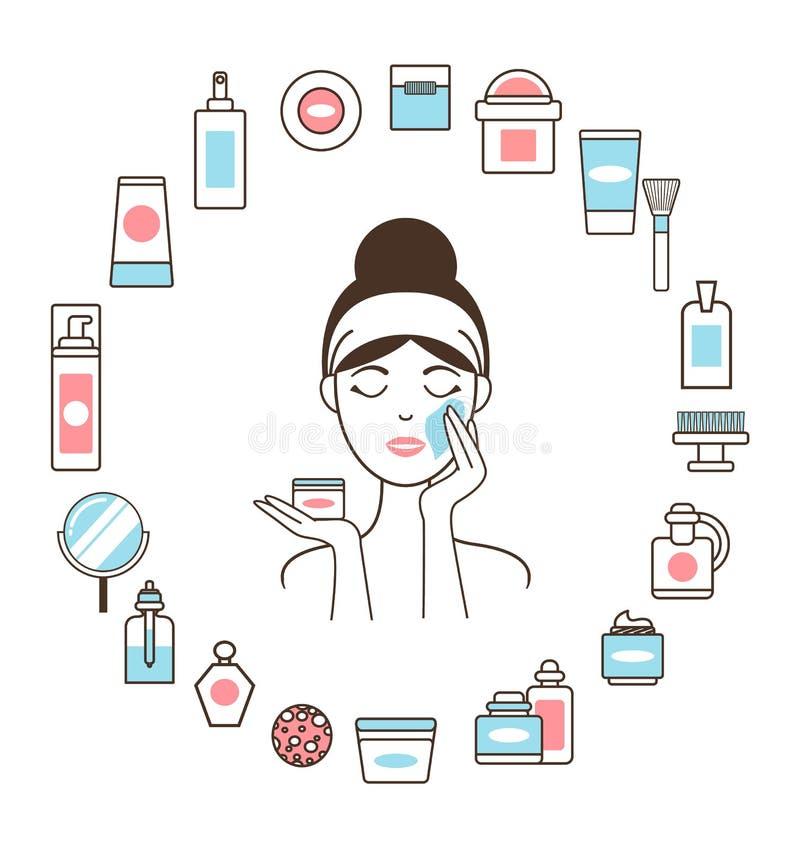 Γυναίκα Headband μέσα στον κύκλο των καλλυντικών μέσων διανυσματική απεικόνιση