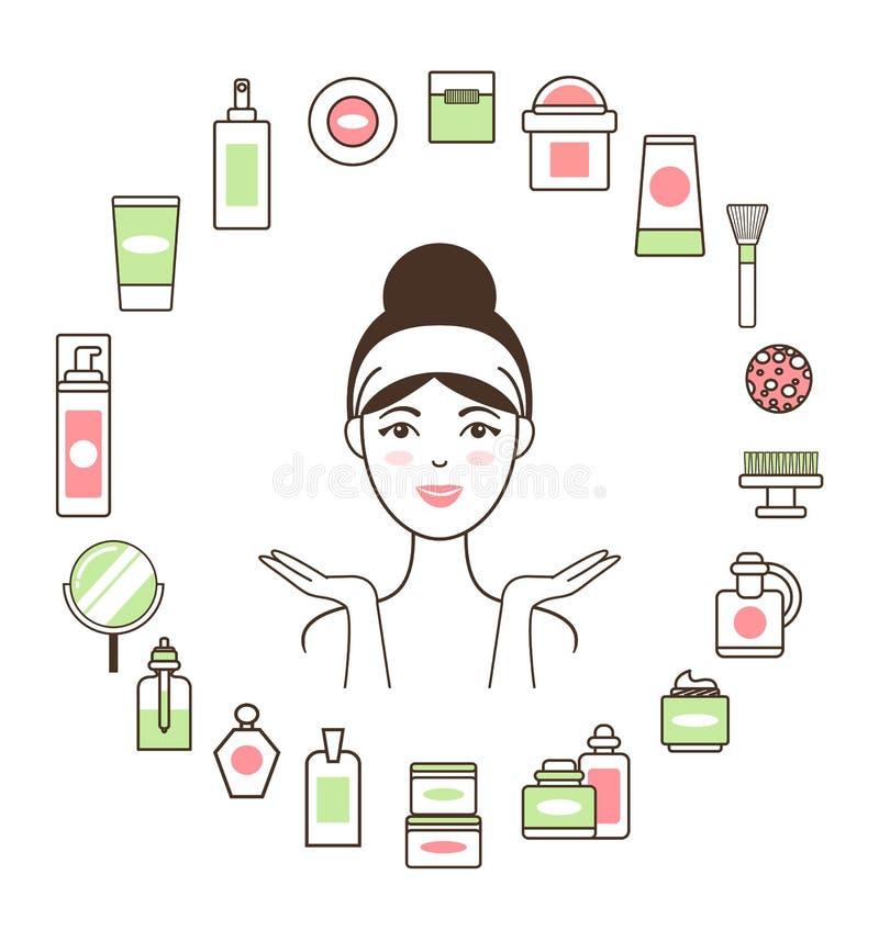 Γυναίκα Headband μέσα στον κύκλο των καλλυντικών μέσων απεικόνιση αποθεμάτων