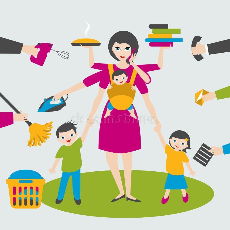 Γυναίκα Multitask Μητέρα, επιχειρηματίας με τα παιδιά και bab yin τη σφεντόνα, σιδέρωμα, εργασία, και κλήση διανυσματική απεικόνιση