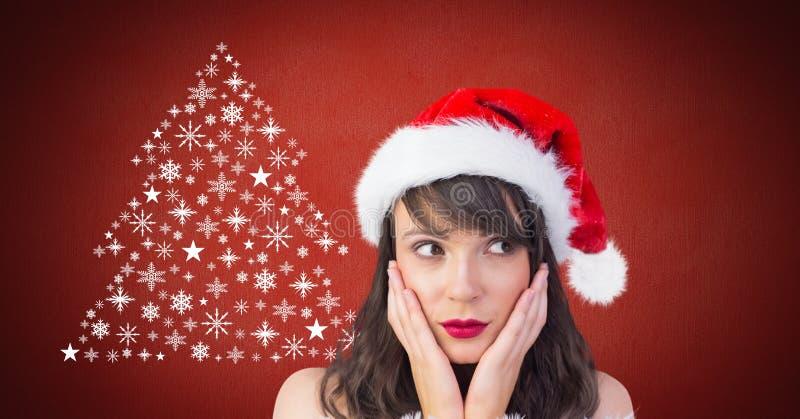 Γυναίκα Santa έκπληκτο και Snowflake μορφή σχεδίων χριστουγεννιάτικων δέντρων στοκ εικόνες
