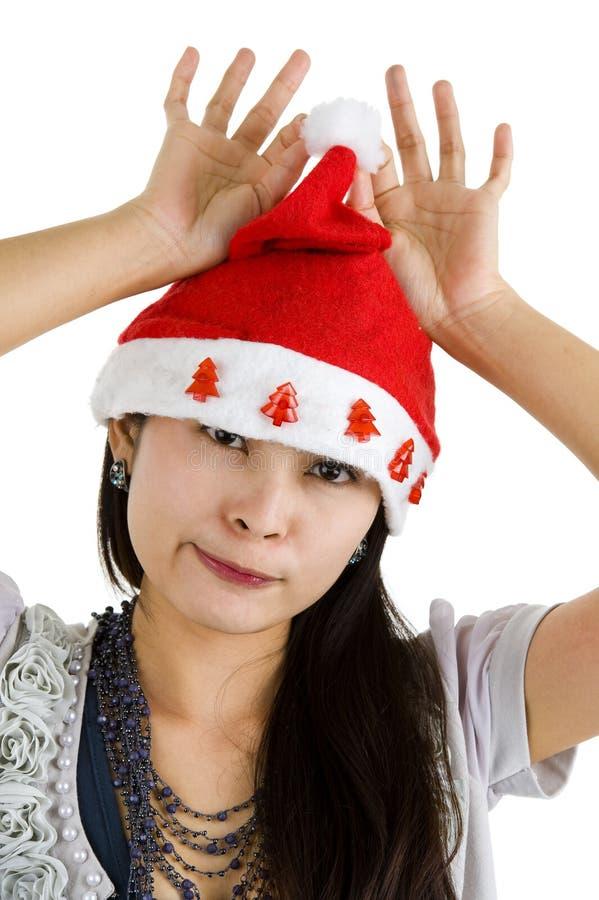 γυναίκα santa καπέλων Claus στοκ φωτογραφία
